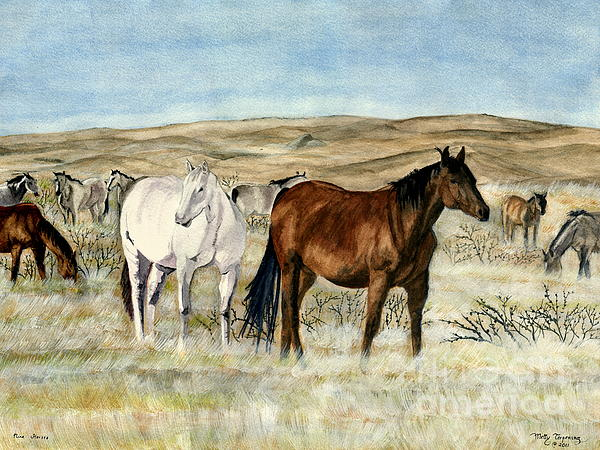 Nine Horses Print by Melly Terpening