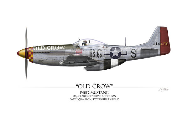 Old Crow P-51 Mustang - White Background Print by Craig Tinder