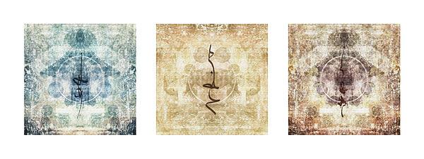 Prayer Flag Triptych Print by Carol Leigh