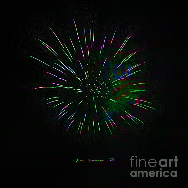 Psychedelic Fireworks Print by John Stephens