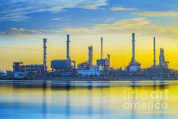 Refinery Industrial Plant Print by Anek Suwannaphoom