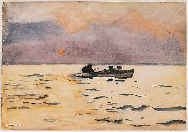 Rowing Home Print by Winslow Homer