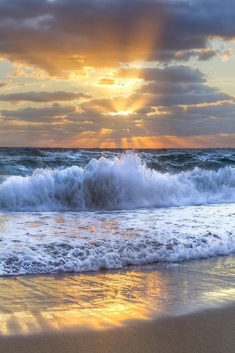 Splash Sunrise Print by Debra and Dave Vanderlaan