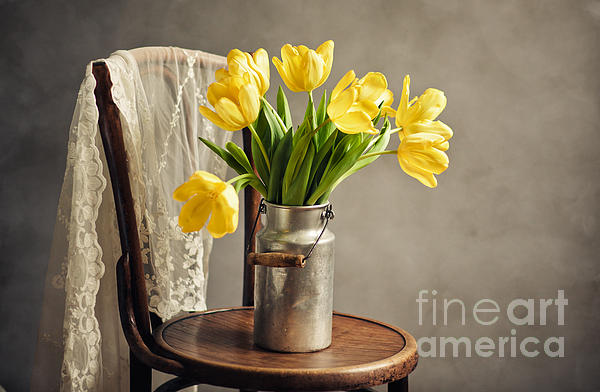 Still Life With Yellow Tulips Print by Nailia Schwarz