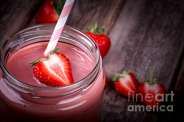 Strawberry Smoothie Print by Jane Rix