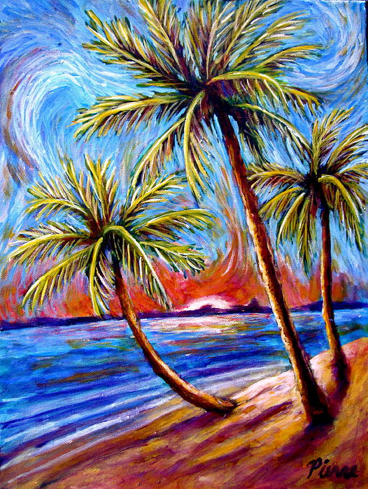 Sebastian Pierre - Three Palms on the Beach