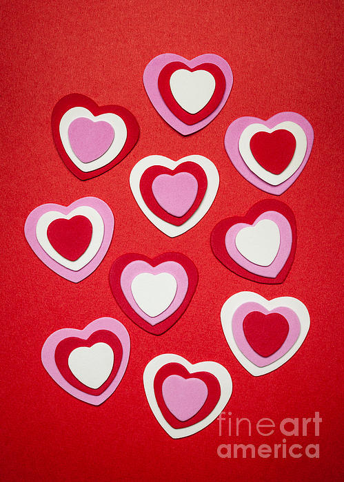 Valentines Day Hearts Print by Elena Elisseeva