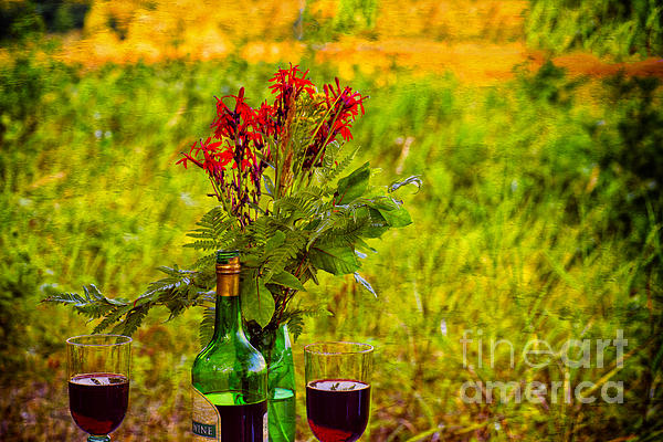 Wine And Flowers Print by Les Palenik