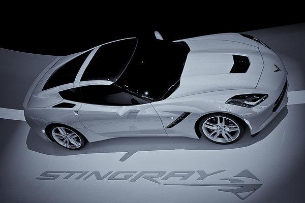 2014 Chevy Corvette  Bw Print by Rachel Cohen