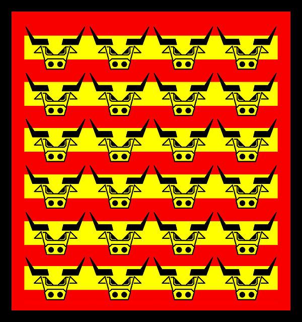 24 Spanish Bulls Print by Asbjorn Lonvig