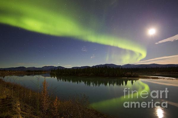 Aurora Borealis And Full Moon Print by Joseph Bradley