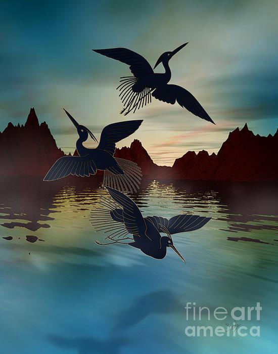 3 Black Herons At Sunset Print by Bedros Awak