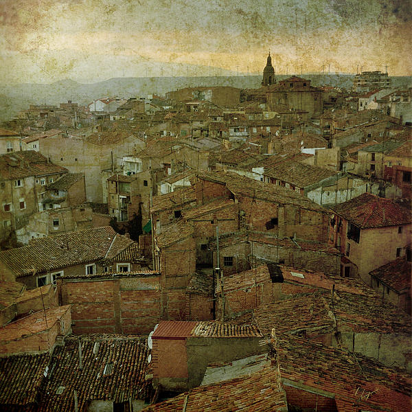 Calahorra Roofs From The Bell Tower Of Saint Andrew Church Print by RicardMN Photography