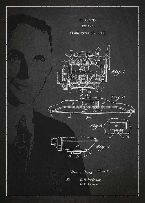 Henry Ford Engine Patent Drawing From 1928 Print by Aged Pixel