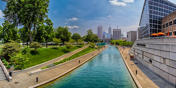 Indianapolis Skyline From The Canal Print by Ron Pate