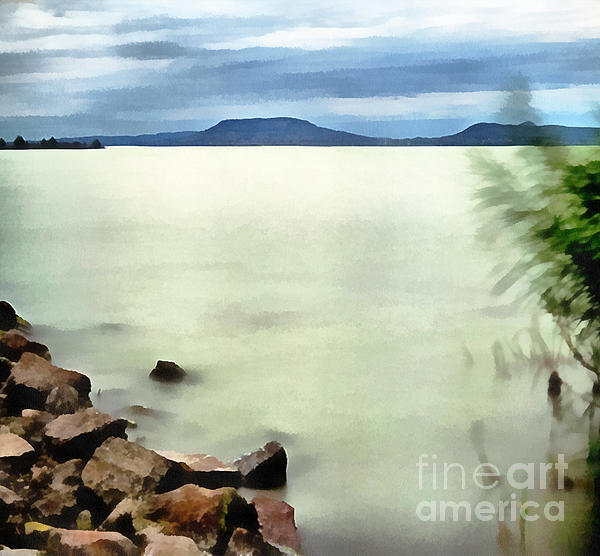 Landscape Of The Balaton Lake Print by Odon Czintos