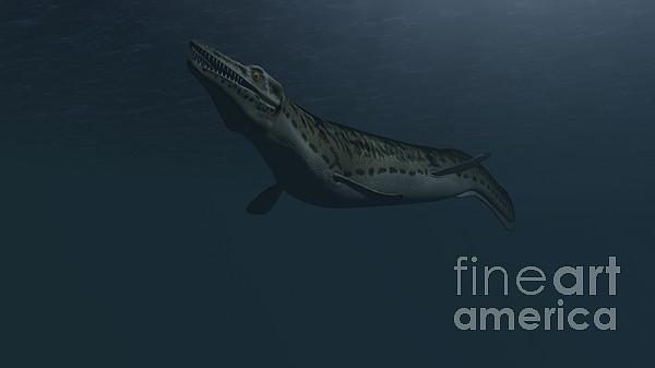 Mosasaur Swimming In Prehistoric Waters Print by Kostyantyn Ivanyshen