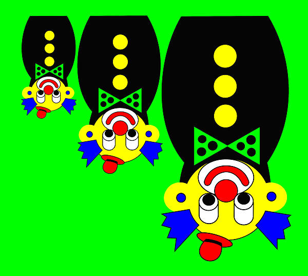 3 Russian Clown Dolls Stand On The Head For You Print by Asbjorn Lonvig