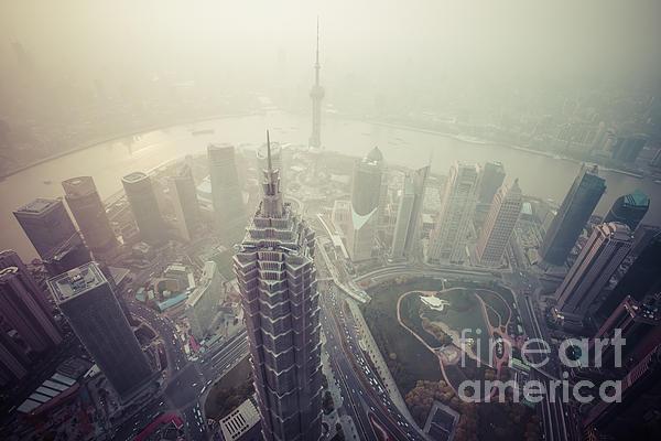 Shanghai Pudong Skyline Print by Fototrav Print