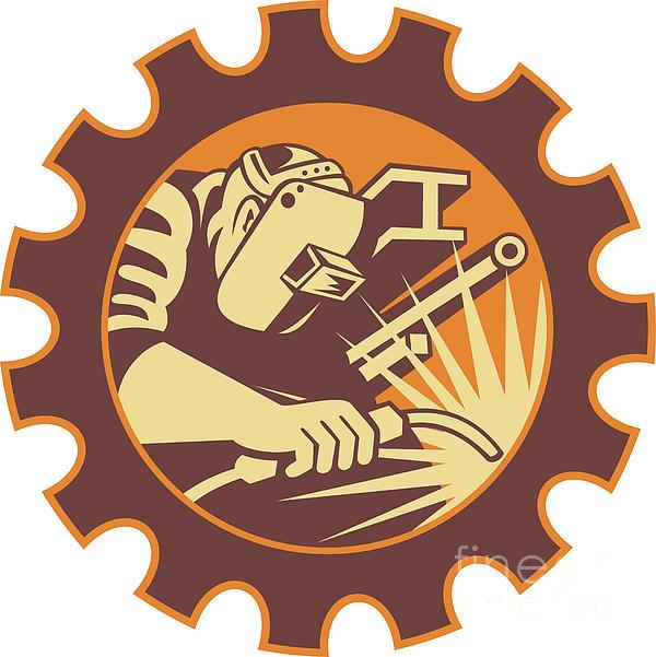 Welder Worker Welding Torch Retro Print by Aloysius Patrimonio