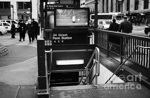 34th Street Entrance To Penn Station Subway New York City Print by Joe Fox