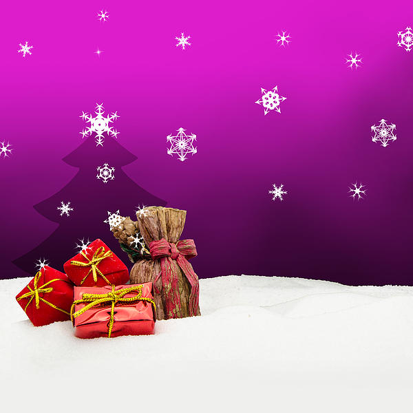 Christmas background christmas tree gifts pink snow by michael