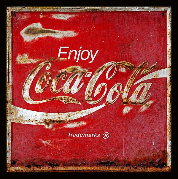 Coca Cola Vintage Rusty Sign Black Border Print by John Stephens
