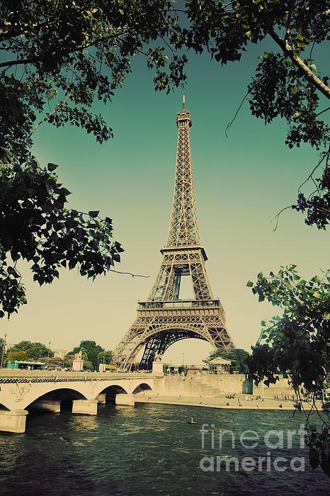 Eiffel Tower And Bridge On Seine River In Paris Print by Michal Bednarek