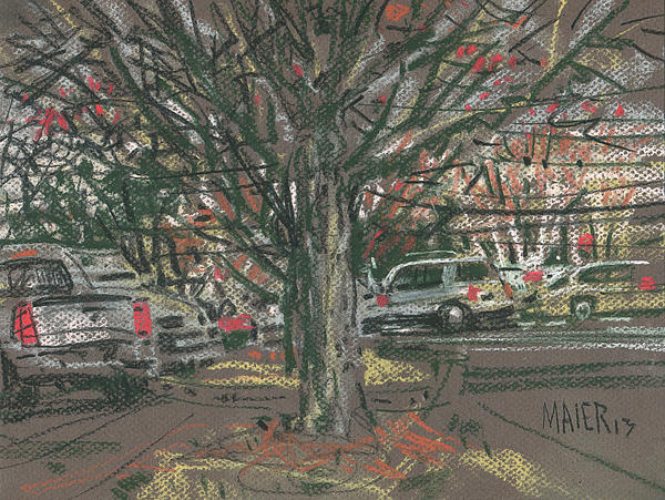 Mall Parking Print by Donald Maier