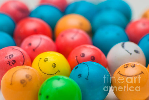 Smiley Face Gum Balls Print by Amy Cicconi