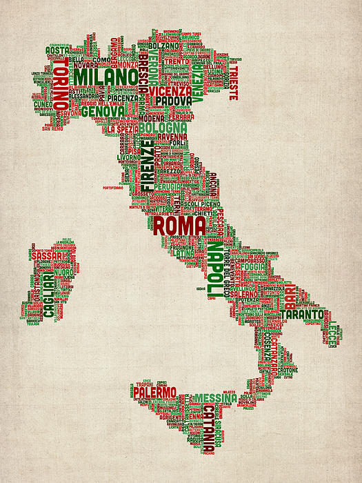Text Map Of Italy Map Print by Michael Tompsett