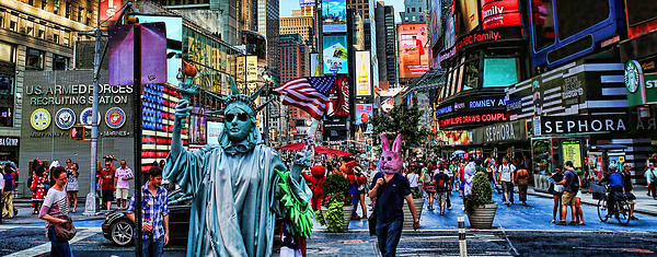 Times Square On A Tuesday Print by Lee Dos Santos