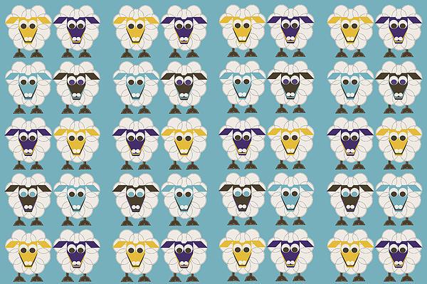 40 Sleep Sheep Print by Asbjorn Lonvig