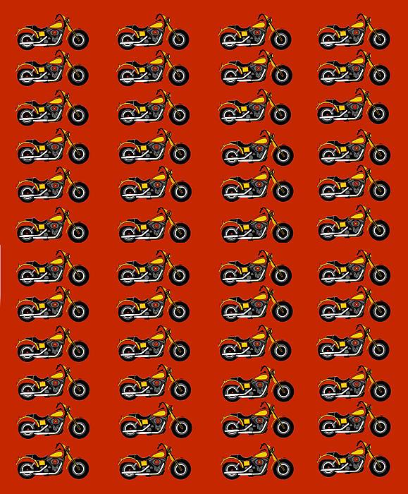 48 Harlies On Dark Red Print by Asbjorn Lonvig