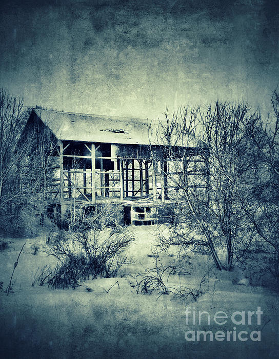 Barn In Winter Print by Jill Battaglia