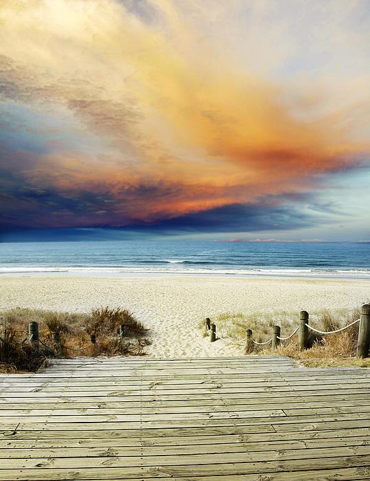 Beach View Print by Les Cunliffe