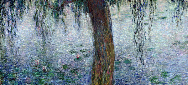 Waterlilies Morning With Weeping Willows Print by Claude Monet