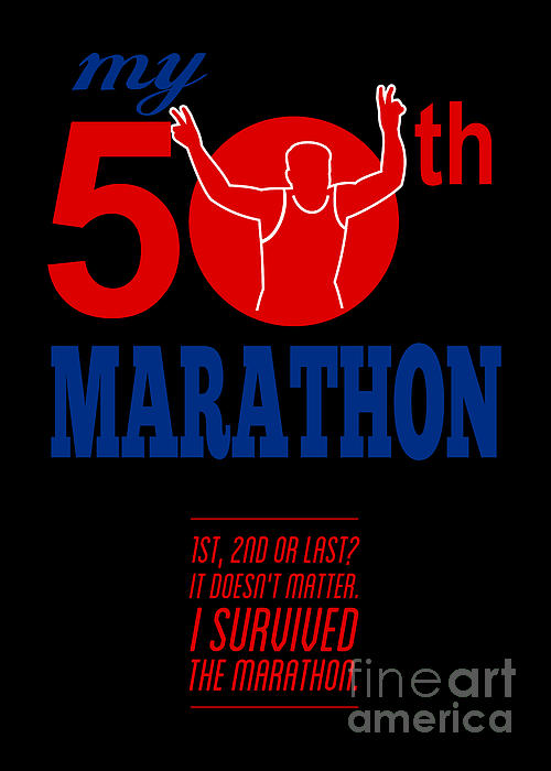 50th Marathon Race Poster Print by Aloysius Patrimonio