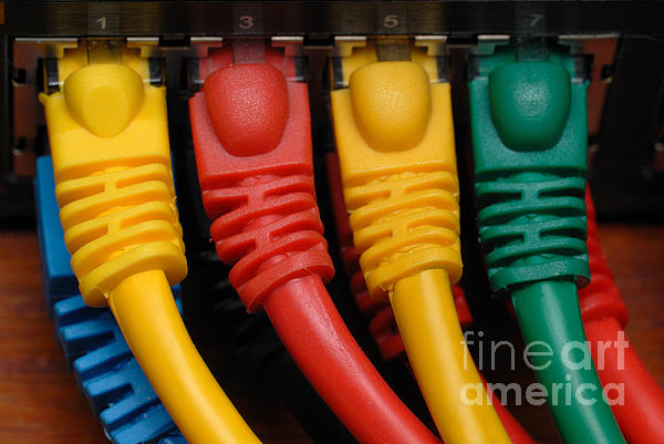 Ethernet Cables Plugged Into Router Print by Amy Cicconi