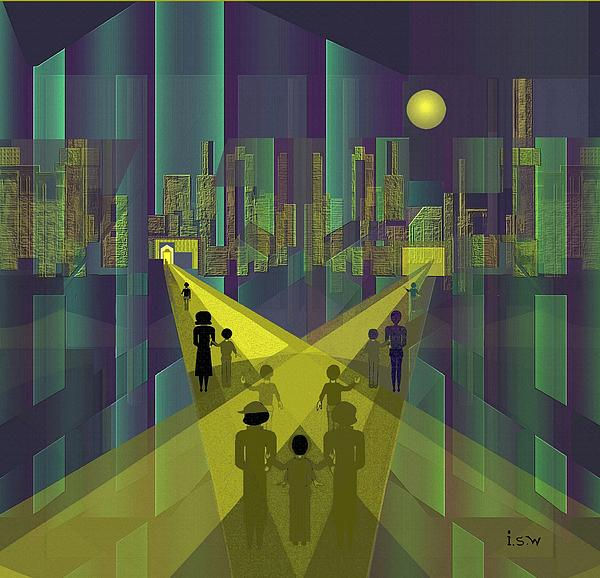 Irmgard Schoendorf Welch - 854 - Nightwalking  to a distant  city