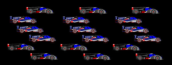 9 Audis And 9 Peugeots Print by Asbjorn Lonvig