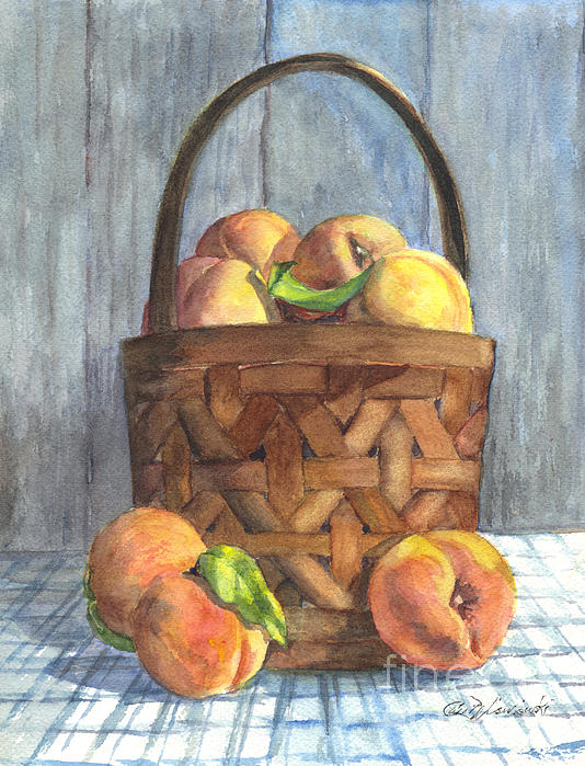 A Basket Of Peaches Print by Carol Wisniewski