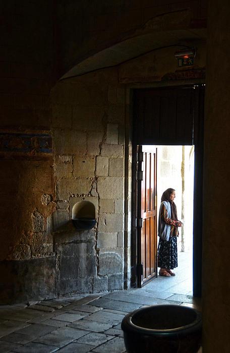A Beggar At The Door Of A Church Print by RicardMN Photography