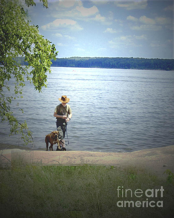 A Boy And His Dog Print by Sandra Clark