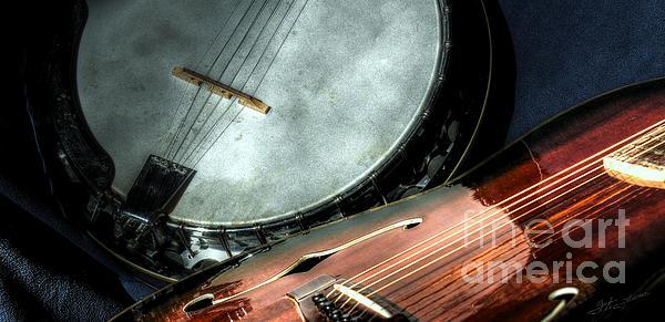 A Classic Pairing Digital Guitar And Banjo Art By Steven Langston Print by Steven Lebron Langston