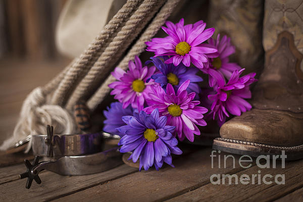 A Cowgirl's Flowers Print by Amber Kresge