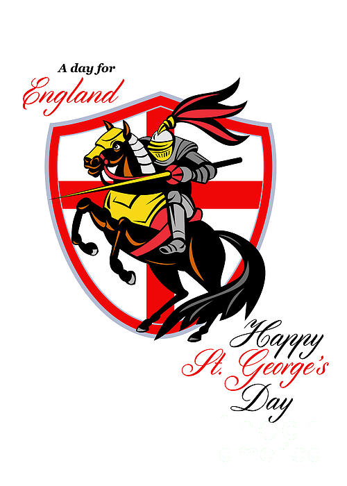 A Day For England Happy St George Day Retro Poster Print by Aloysius Patrimonio