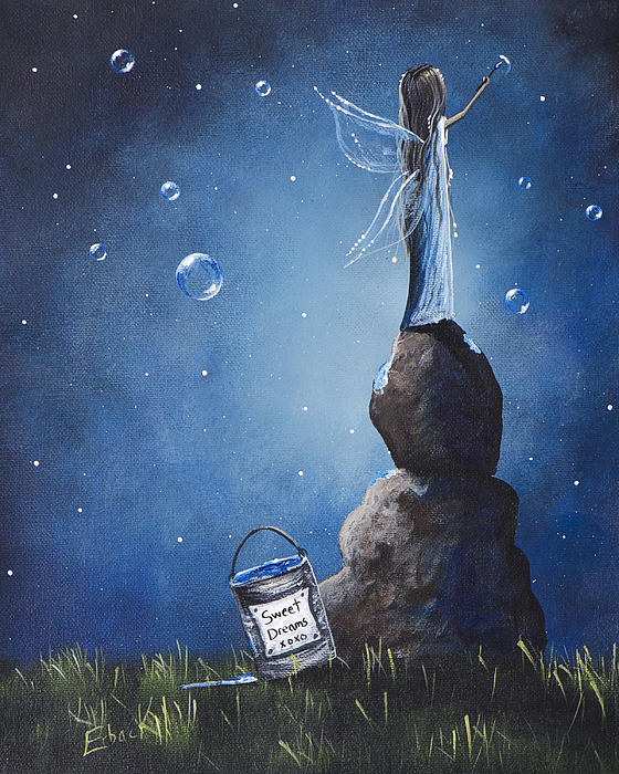 A Fairy's Nighttime Gift By Shawna Erback Print by Shawna Erback