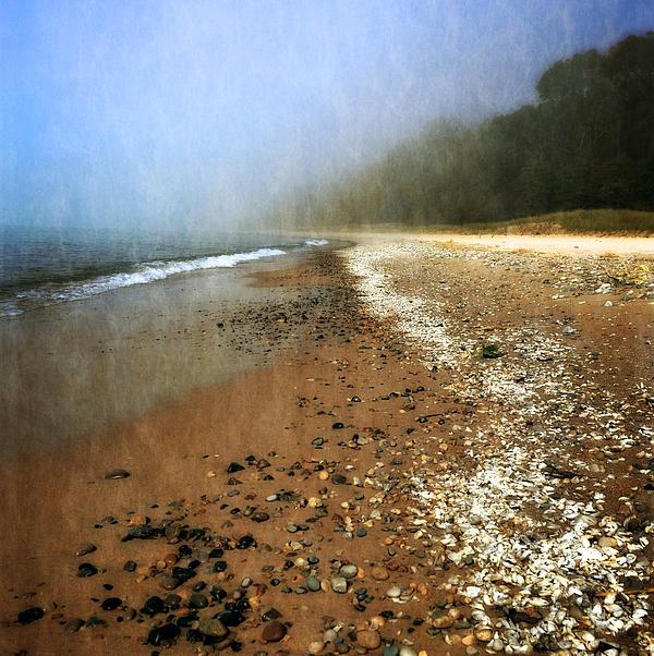 A Foggy Day At Pier Cove Beach 2.0 Print by Michelle Calkins