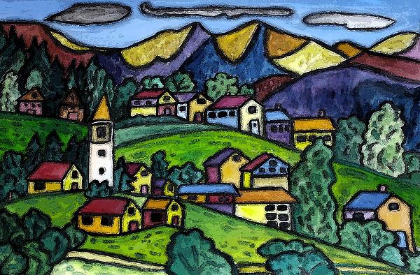 A Folksy Swiss Town Print by Monica Engeler